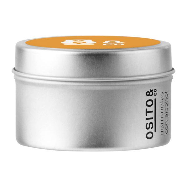 OSITOS CON ALCOHOL - Ositos con sabor a naranja. 50 ositos en cada lata. 19% de alcohol, 100% veganos y sin gluten. Cajita de aluminio incluida.